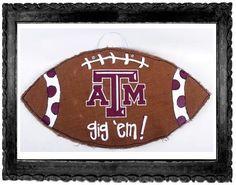 Texas A&M Burlap football hanger.  Show your team spirit - Gig 'em!  $36