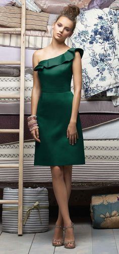 bridesmaid dress in emerald green