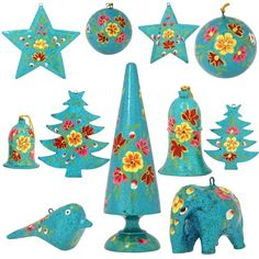 Set of 11 Turquoise Paper Mache Party Ornaments - Handmade Indian Gifts ShalinIndia http://www.amazon.co.uk/dp/B00KFD8UYA/ref=cm_sw_r_pi_dp_kI3awb1VV5C7W