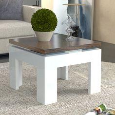 Table Basse Carrée Blanc Laqué Et Couleur Bois NEMESIS