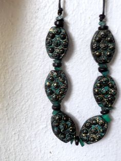 Tribal beads & malachite necklace