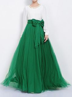 Stylish High-Waisted Solid Color Voile Skirt For Women