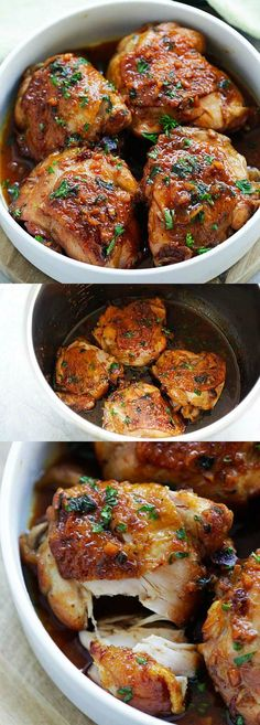 Honey Garlic Chicken – moist, tender, fall-off-the-bone chicken thighs in savory and sweet honey garlic sauce and made in an Instant Pot, so delicious   rasamalaysia.com