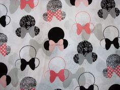 1 Yard SDLP Cotton Fabric - Minnie Mouse - White.