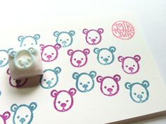 teddy bear hand carved rubber stamp. small animal face stamp.  SIZE: about 15mm (0.6in)  ABOUT RUBBER STAMPS: • made to order • 10mm thick soft rubber block • block color may vary • backings or handles - optional with extra cost • materials for additional handle/backing www.etsy.com/listing/116487845/ • each rubber stamp is carved by hand using carving knives  IDEAS: • christmas, birthdays, weddings, baby shower, easters, any occasions, any seasons, any holidays • working ...