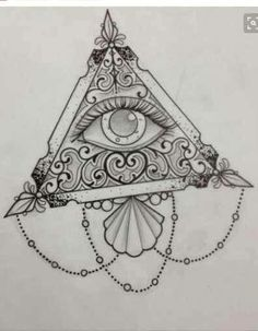 Cute aesthetic triangle illuminati tattoo sketch