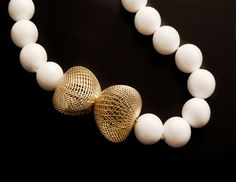 Hella Ganor  Necklace: Untitled 2011  16mm White Agate beads, 14k gold pebbles  The Netline Series