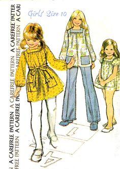 70s GIRL'S DRESS or SMOCK Sewing Pattern 1973 by KeepsakesStudio