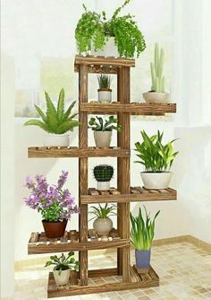 100 Beautiful DIY Pots And Container Gardening Ideas - Best Home Decor Ideas Tall Plant Stands, Wood Plant Stand, Stand Tall, Tall Plants, Indoor Plants, Hanging Plants, Indoor Herbs, Indoor Plant Decor, Indoor Outdoor