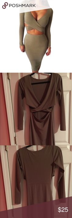 Olive Bandage Wrap Dress This dress can be worn both ways as an open back dress or as a unique cutout dress. Perfect for a night out! Dresses