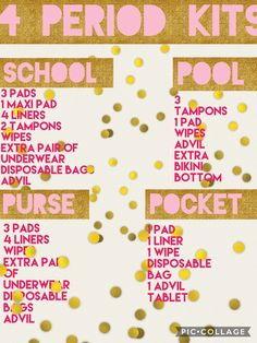 Period kits for school, pool, purse, and pocket!!