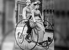 "Tandem adult tricycles were a great fad in the 1880's, since they were more stable than tandem bicycles. The Columbia Tricycle Company claimed that they insured ""absolute freedom from danger of accident."" The unusual machine in this photo was manufactured by a number of large bicycle companies in Europe and the United States."