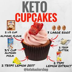 KETO CUPCAKES Here is a delicious recipe for Lemon Cupcakes with Raspberry Frosting from . CALORIES/MACROS This makes a total of 12 servings of Lemon Cupcakes with Raspberry Frosting. Each serving comes out to be 337 Calories, Keto Cupcakes, Keto Cake, Desserts Keto, Keto Friendly Desserts, Keto Snacks, Low Carb Meal, Keto Meal Plan, Ketogenic Recipes, Ketogenic Diet