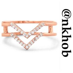 """Double V Design Ring Rose gold  plated sterling silver double row CZ """"V"""" design ring. Each row is approximately 1.2mm. The ring is 5mm wide. The back of the ring has two 2mm X 5mm polished bars that join the bands together.  The ring is available in whole sizes 5-10.  .925 STERLING SILVER ♨️GORGEOUS IN PERSON ♨️ (A) OJ Designs Jewelry Rings"""