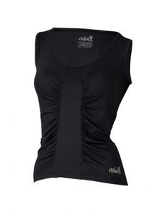 Black top gathered down the front is quite cool as its different from plain gym tops..