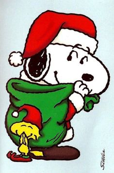 Santa Snoopy With Christmas Sack of Presents With Woodstock the Elf Wearing an Elf Hat and Giggling Snoopy Feliz, Snoopy Und Woodstock, Woodstock Bird, Charlie Brown Und Snoopy, Meu Amigo Charlie Brown, Peanuts Christmas, Charlie Brown Christmas, Merry Christmas, Christmas Time