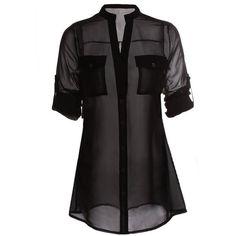 Fancyqube(TM) Women's Chiffon Button Down Tunic Shirt ($9.99) ❤ liked on Polyvore featuring tops, tunics, blouses, blusas, sheer, shirt top, sheer shirt, sheer top, shirt tunic and chiffon shirt