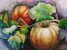 임윤숙 - 정물 2 Learn Watercolor Painting, Fall Canvas Painting, Watercolor Pictures, Watercolor Projects, Autumn Painting, Autumn Art, Watercolor Flowers, Pumpkin Art, Small Art
