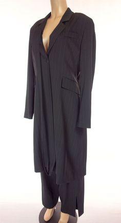 SARAH PACINI Suit Size 3 4 L XL Wool Long Jacket Pants Black Pinstripe Work #SarahPacini #PantSuit