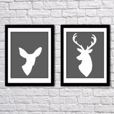 Deer Head Silhouettes Antlers Doe Buck Digital Art Prints