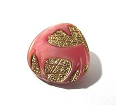 Czech HORSE Button Art Deco Style Horse VINTAGE Czech Glass Button One (1) Pink Czech Glass Mod Horse Vintage Button Jewelry Supply (R66) by punksrus on Etsy