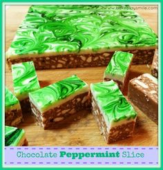 Super Easy Chocolate Peppermint Slice. AMAZING!!! Bake Play Smile