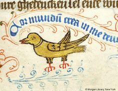 Bird holding vine scroll | Book of Hours | Netherlands, Delft | ca. 1440 | The Morgan Library & Museum