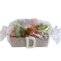 CESTA DE FRUTAS PERSONALIZADA PARA LA MAMÁ Y EL BEBÉ. Cesta personalizada para bebé. Canastilla personalizada para recién nacido. Cesta para regalo de bebés.
