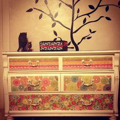 Craft paper and mod podge on an old dresser! #DIY #craft #home #furniture #dresser