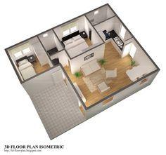 Ótima planta de casa pequena de 2 quartos com garagem embutida e uma suite.