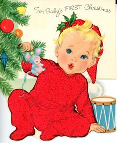 Vintage Die Cut Norcross Baby's 1st Christmas Baby in Red PJ's & toy Mouse 999