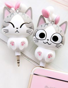 """Cute cartoon cat modelling phone headset line sold by Asian Cute {Kawaii Clothing}. Shop more products from Asian Cute {Kawaii Clothing} on Storenvy, the home of independent small businesses all over the world. Code """"sunflower"""" for off. Kawaii Shop, Kawaii Cute, Kawaii Stuff, Kawaii Things, Chi's Sweet Home, Cartoon Mignon, Cute Headphones, Accessoires Iphone, Asian Cute"""