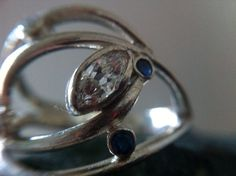 Modern Engagement Ring moissanite & sapphire. Customize yours Click here www.MelissaTysonDesigns.etsy.com