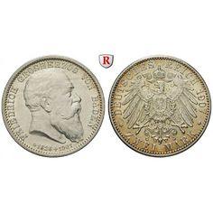 Deutsches Kaiserreich, Baden, Friedrich I., 2 Mark 1907, auf den Tod, G, vz/vz-st, J. 36: Friedrich I. 1852-1907. 2… #coins #numismatics