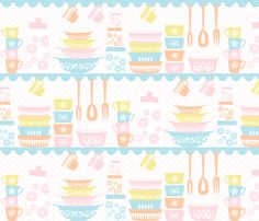 PYREX LOVE_PASTELS fabric by jumping_birds on Spoonflower - custom fabric