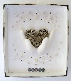 Boho Mixed Media Heart Hands Vintage Lace  Shadow by Studiomoonny