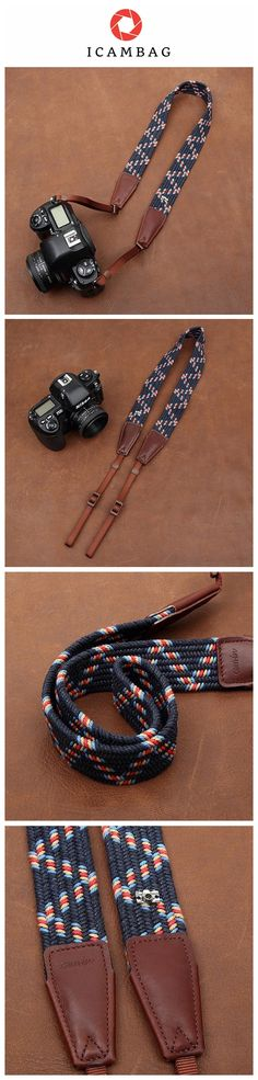 Weaving Style DSLR Deep Blue Sony Nikon Canon Handmade Leather Camera Strap 8792 Handmade with top layer cow leather and denim. It can fit almost every DSLR, SLR and some larger digital cameras. *****