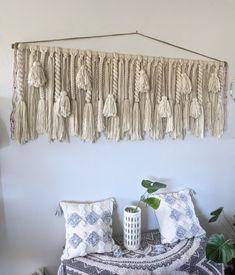 Yarn Wall Hanging, Large Macrame Wall Hanging, Tapestry Wall Hanging, Wall Hangings, Yarn Color Combinations, Jute Twine, Large Wall Art, Wooden Beads, Twists