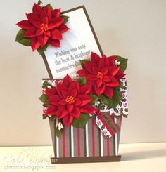 pretty Chistmas card (with instructions for the poinsettias)