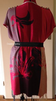 A scarf upcycled by Centina K @CentLovesColour 24.05.2017 into a dress, shoulder ribbons with buttons, waist strings at the back, completed with elastic belt