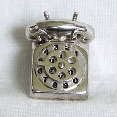 VINTAGE Sterling Enamel Big 3D ROTARY DIAL TELEPHONE Mechanical Charm I LOVE U #Unbranded