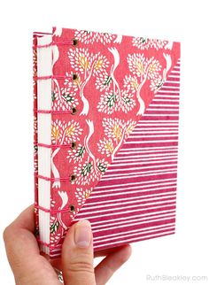 Colorful Pink journal with trees and stripes handbound by book artist Ruth Bleakley
