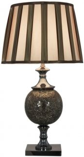 Sparkle Mosaic Bronze Thistle Table Lamp with Bronze and Gold Shade - Large
