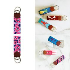 Key fobs canvases and finished products are achievable! Sometimes the size of a project can be a little daunting. A key fob canvas is adorably small, and a quick project to stitch. All skill levels will enjoy stitching these canvases. If you're a beginner, they are the perfect project to learn on without becoming frustrated. In addition, a key fob canvas is small enough to slip into a project bag and take with you anywhere. #Needlepoint #KeyFob #Finishing 🙌 Needlepoint Kits, Needlepoint Canvases, Key Fobs, Stitching, Personalized Items, Bag, Products, Costura, Keychains