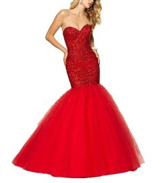 Beyonddress Mermaid Heavy Beaded Sequin Prom Dress Long Evening Gown 24 Red. Tulle fabric;Dry clean only. About the size information, please refer to the left size chart US2 to US26w, DO NOT use Amazon size chart or the size you normally wear. Beaded Floor Length Pleated Prom Dress Evening Gowns. Suitable as prom dresseses, cocktail dresses, evening dresses, homecoming dresses and other formal dresses. Designer's Style 2016 Sexy Beaded Mermaid.