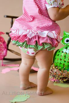 Ruffle Diaper Cover Baby Bloomers Ruffle Boomer Pants Hot Pink Lime Green - Little Owl. $27.00, via Etsy.
