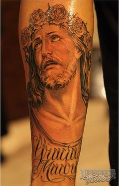 tattoos ideas to Holy Tattoos, Best 3d Tattoos, Jesus Tattoo Design, Dove Tattoo Design, Christus Tattoo, Forearm Sleeve Tattoos, Tattoo Arm, Christian Tattoos, Wild Tattoo