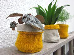 Blumentöpfe - 3er Minitöpfe für Minigarten Senfgelb Leinen Wolle - ein…