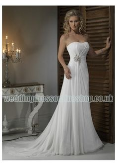 Wedding dress online shop - Chiffon Strapless Dipped Neckline with Rouched Bodice in Slim Sheath Skirt 2011 Hot Sell Informal Wedding Dress WM-0442