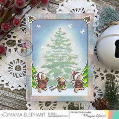 mama elephant | design blog: STAMP HIGHLIGHT: Snowy Tree Snowy Trees, Mama Elephant Stamps, How To Make Snow, Elephant Design, Winter Scenes, Winter Season, Cute Bunny, Holiday Cards, Christmas Cards